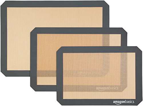 AmazonBasics Silicone, Non-Stick, Food Safe Baking Mat - Pack of 3