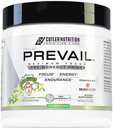 Prevail Pre Workout Powder with Nootropics: Best Pre Workout for Men and Women, Cutting Edge Energy and Focus Supplement with L Citrulline, Alpha GPC, L Tyrosine | Sour Lime Gummy, 40 Scoops