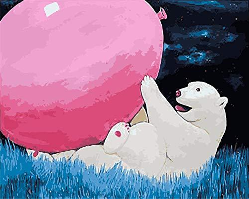 Digitaal schilderij knutselen met cijfers op canvas op cijfers ijsbeer met roze ballonnen voor volwassenen kinderen beginners als decoratie voor binnenin