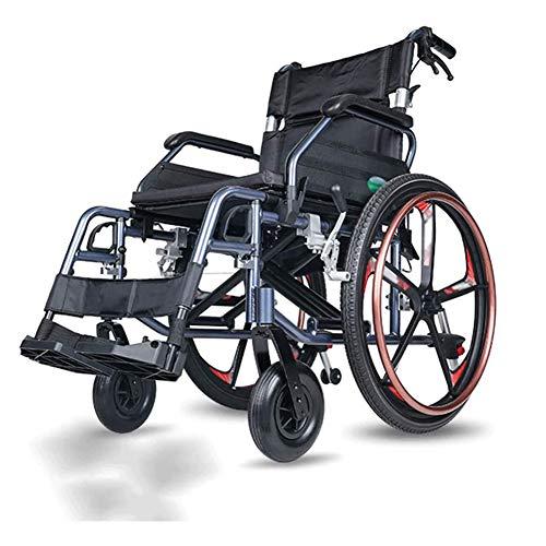 Cushion Scooter Portátil De Aleación De Aluminio para Ancianos, Silla De Ruedas Autopropulsada Plegable, Ligera, Pequeña, Ultraligera, Silla De Ruedas De Viaje