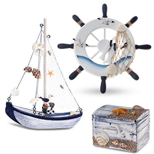 Flanacom Maritime Badezimmer Deko 3er Set - Steuer-Rad, Segel-Schiff und Schatz-Truhe aus Holz - liebevoll gestaltete Badaccessoires mit Details (Design 2-1)