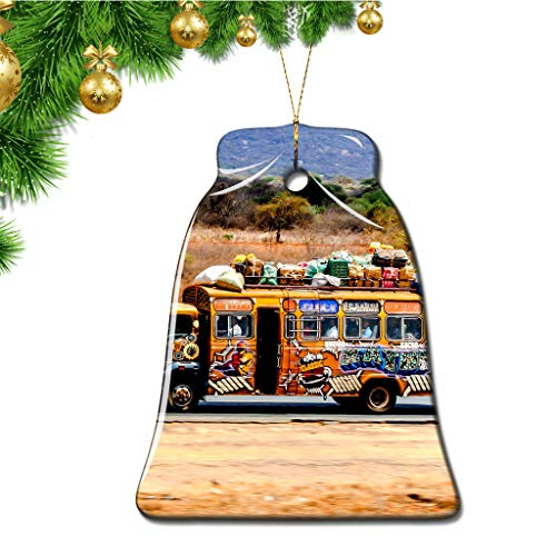 Hqiyaols Ornament Massai-Dorf Kenia Weihnachten Ornamente Bell Form Keramik Souvenir Stadt Reise Geschenk Baum Tür Fenster Decke Zierschmuck Deko