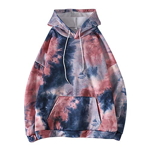 WYZTLNMA 2020 New Womens Hoodies Oversized Tie Dye Loose Casual Hooded Fashion Long Sleeve Tops Sweatshirt Streetshirt Red