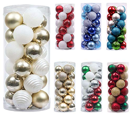 24pcs 40mm Christmas Xmas Ball Tree Decor Bauble Party Hanging Ball Decorations Ornament for Home Christmas Decorations (Gold and White)