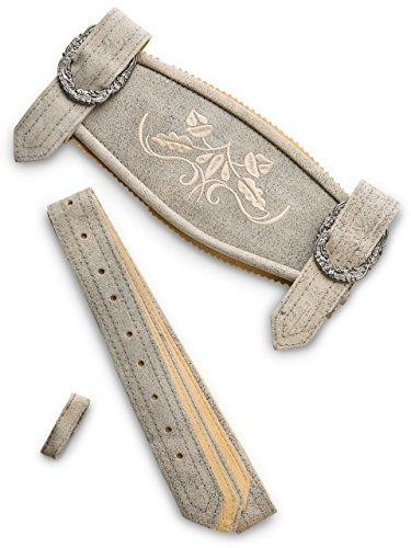 Hosenträger Klassik - Echtleder H-Träger Lederhosen Hosenträger grau Antik (58/60, Grau-Antik)