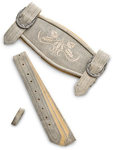 Hosenträger Klassik - Echtleder H-Träger Lederhosen Hosenträger grau Antik (54/56, Grau-Antik)