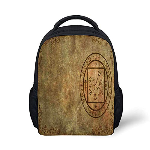 Kids School Backpack Occult Decor,Ancient Textured Mystic Occult Sigil Seal Icon Over Distressed Old Background Decor,Tan Plain Bookbag Travel Daypack