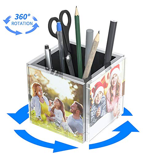 NIUBEE Acrylic Rotating Pen Holder Desk Organizer, 4-Sided Clear Photo Cube Pencil Cup with 360 Degree Rotatable Base for Home Office Desktop Supplies