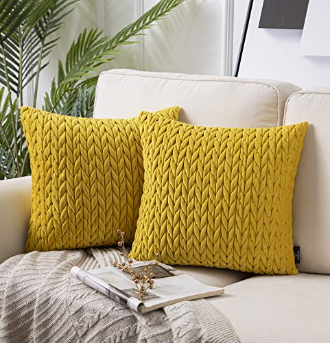 Phantoscope Pack of 2 Quilt Velvet Throw Pillow Covers Square Cushion Cover Pillowcase for Couch Bed and Chair, Yellow 18 x 18 inches 45 x 45 cm