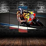 ADKMC IKDBMUE Cuadros Modernos Impresión de Imagen Motociclistas Bicicleta Artística Digitalizada   Lienzo Decorativo para Tu Salón o Dormitorio 5 Piezas 150 x 80 cm
