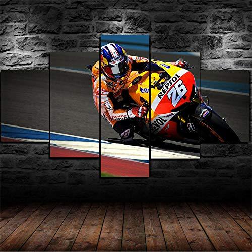LIVELJ Puzzle-Pedros Days MotoGP/Enmarcado/5 Pieza impresión sobre Lienzo artística Pintura Grabados Ciudad Decoracion Tamaño Total: (H-55 cm x M/B-100 cm)