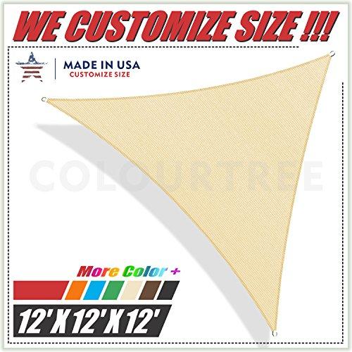 ColourTree Toldo Triangular para toldo de toldo, Color Beige, 12 x 12 x 12 pies, Resistente a los Rayos UV, Resistente a los Rayos UV, Grado Comercial, tamaño...