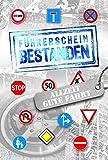 Glückwunschkarte zum Führerschein mit Prägung  Karte Führerschein im Set   Karte in Folie   Karte ohne Innentext   DIN A 6   Klappkarten inkl. Umschlag   Motiv: Straßenschilder