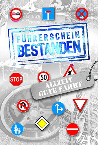 KE - Glückwunschkarte Führerschein - ohne Innentext - DIN A 6 - inkl. Umschlag - Führerschein - Straßenschilder