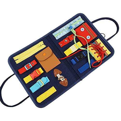 幼児忙しいボード、モンテッソーリおもちゃ 基本スキルボード2 3 4 5歳のキッドアクティビティトイ、ファインモータースキル、モンテッソーリベビービジーボード教育ボード、ジッパー、ボタン、バックル、レース付き