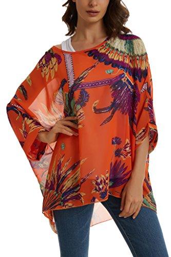 Womens Off Shoulder Batwing Sleeve Semi Sheer Tops Blouse Orange