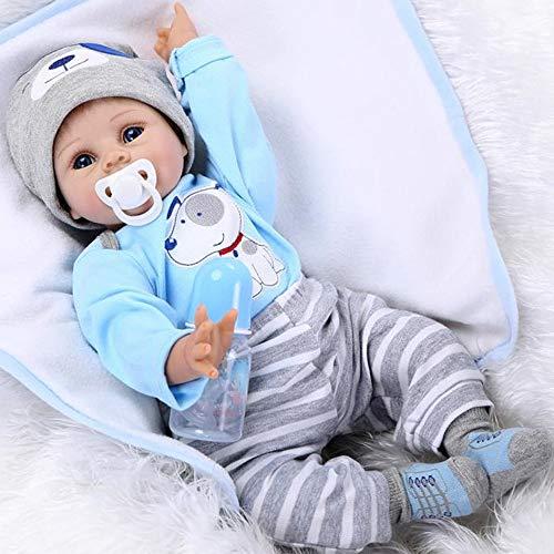 ZIYIUI Reborn Babypuppe Realistische Puppe Lebensecht Junge Silikon Dolls Blau Outfit 55 cm