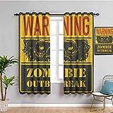 Azbza Cortinas Opacas Salón - Amarillo horror letras película. - 90% Opacas Proteccion Intimidad - W240 x H260 cm - Salón Dormitorio Cortina Gruesa y Suave para Oficina Moderna Decorativa Cortinas