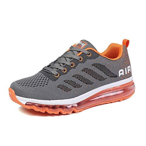 frysen Herren Damen Sportschuhe Laufschuhe mit Luftpolster Turnschuhe Profilsohle Sneakers Leichte Schuhe Gray Orange 42