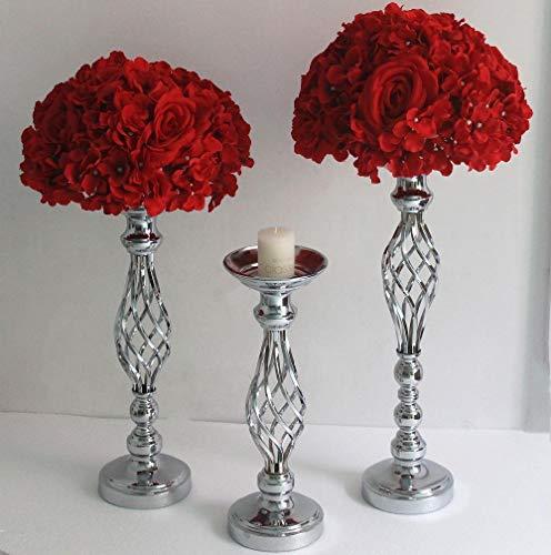 TKG Jarrones de Flores de Oro/Plata acorchetan Plomo Rocalla Centro candelabro de Velas para la Fiesta de la Boda Candelabro,Altura 60 de Plata centimetri