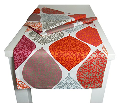 """beties """"Momente"""" Tischläufer ca. 40x150 cm Tischband in interessanter Größenauswahl hochwertig & angenehm 100% Baumwolle Farbe (Bohemian mohn)"""