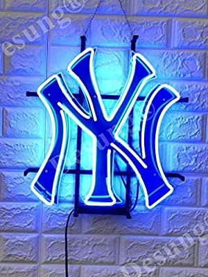 Desung New York Sports Team NY Yankee Neon Sign Light (MultipleSizes) HD Vivid Printing Tech Handmade Man Cave Beer Bar Pub Lamp VD19