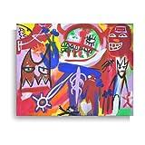 Cuadro acrílico sobre lienzo pintado a mano 50 x 40 arte moderno - título de la obra 'Muchas personas'