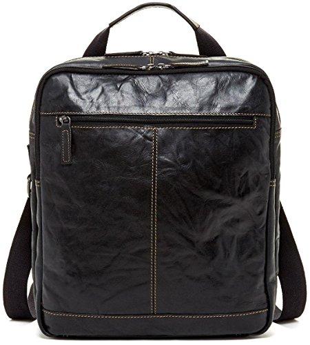Jack Georges Voyager Leather Convertible Messenger Bag to Backpack, Black