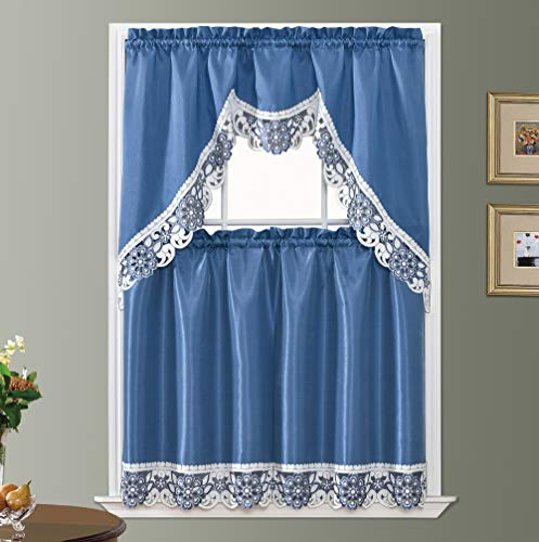 GOHD Golden Ocean Home Decor Dreamland Kitchen Curtain Set/Swag Valance & Tier Set. Nice Matching Color Embroidery on Border with cutworks (Riverside Blue)