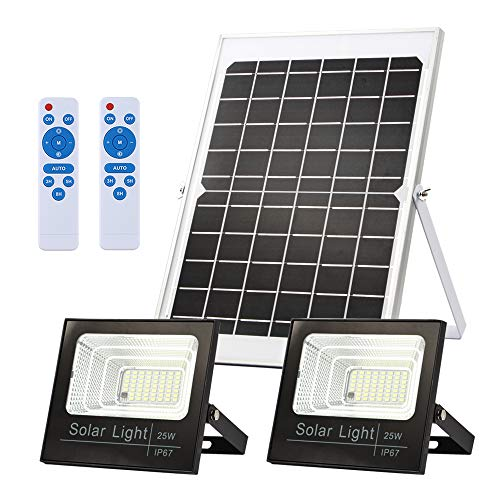 Solar Flood Lights Dusk to Dawn,Solar Security Lights Outdoor IP67 Waterproof 800LM 5000K 16.4ft Cable Outdoor Solar Lights 2-in-1 with Remote Outdoor Security Lighting for Barn,Garden,Pool,Garage