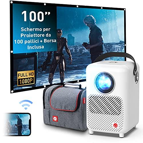 Proiettore Portatile, Pixthink Videoproiettore Nativa 1080P Full HD Display da 200 Pollici, Mini Proiettore di Film con Wireless a Dispositivo IOS Android per TV Stick Switch il Computer Portatile USB