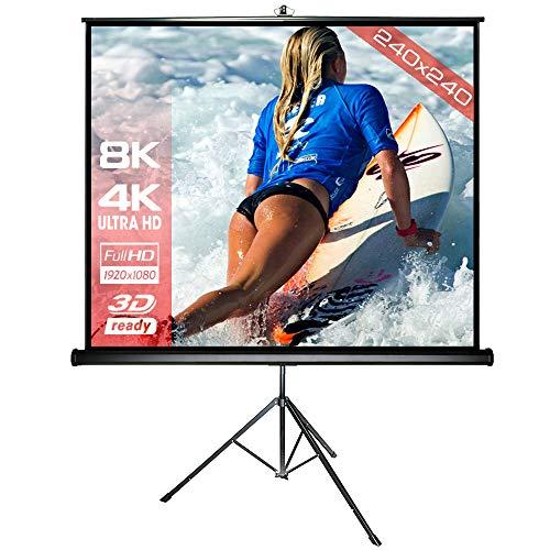 Alphavision SlenderLine Mobile Stativleinwand 240 x 240 cm (345cm Bilddiagonale/135 Zoll) Beamerleinwand inkl. Stativ - Ständer stabile Ausführung - geeignet für alle Beamer und Bildformate