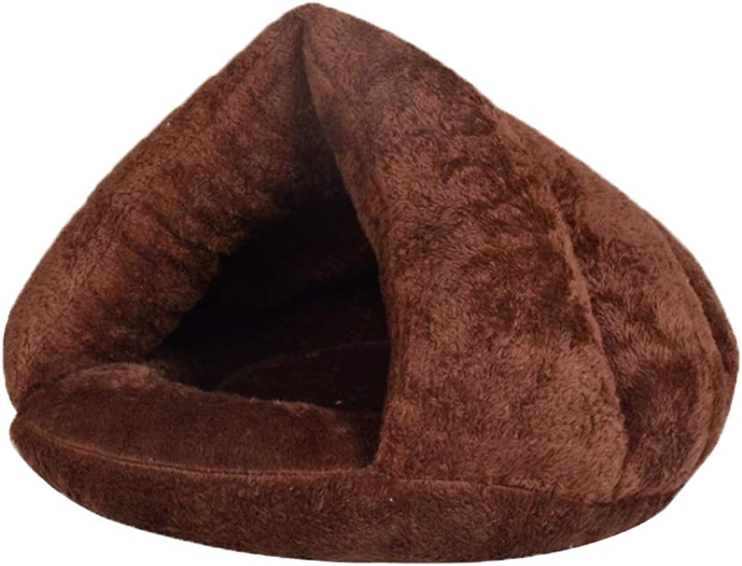 Kennel Cat Litter Triangle Winter Comfortable Warm Plush Cotton Pad Thickening Sleeping Bag Yurt Washing (color   Brown, Size   S)