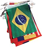 9M Girlande Brasil Fußball-WM 2014 Fahne Fahnentuch International Allen Teilnehmenden 32 Nationen - Fahne 14cm x 21cm