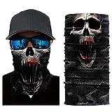 Multifunktionstuch Herren Sport, Damen Männer Horror Bunt Skull Joker 3D Druck Motorrad Face Shield...