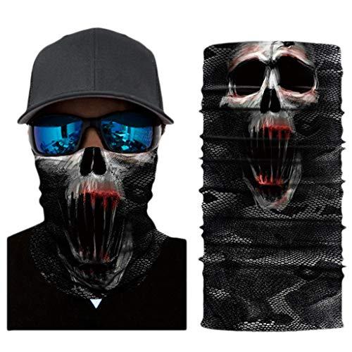 Multifunktionstuch Herren Sport, Damen Männer Horror Bunt Skull Joker 3D Druck Motorrad Face Shield Sturmhaube Clown Schädel Totenschädel Bandana Fahrrad Tuch Funktionstuch Halstuch Kopftuch (XC047)