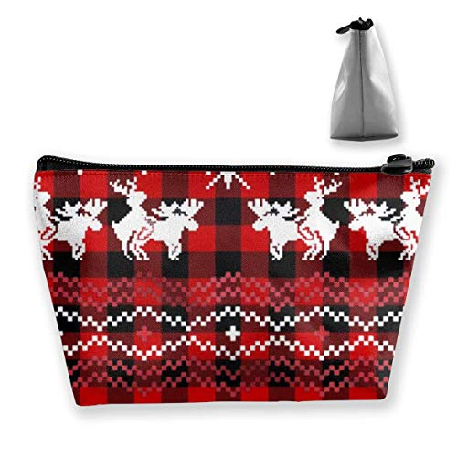 Sac de Voyage cosmétique Multifonctionnel - Humping Moose Holiday Trapezoid Makeup Organizer Toiletry Wristlet Purse