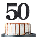 Black Glitter Number 50 Cake Topper - for 50th Birthday/Wedding Anniversary Party Decoration