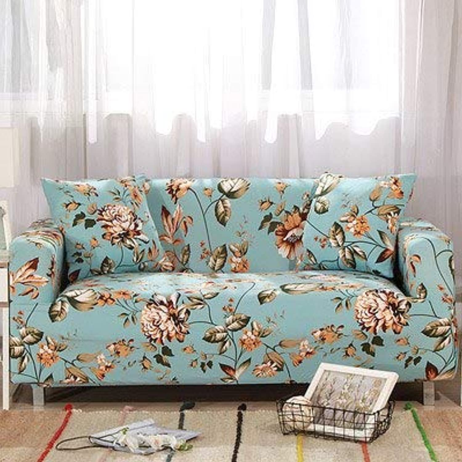 Farmerly Elastic Sofa Cover Printed Flowers Slipcover Tight Wrap All-Inclusive Corner Sofa Cover Stretch Furniture Covers 1 2 3 4 Seater   5, Singer seat