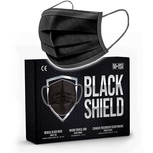 BLACK SHIELD - Certification CE - Masque chirurgical MEDICAL noir - Lot de 50 +1pcs - TYPE 1 - Filtration EFB >95% - EN14683