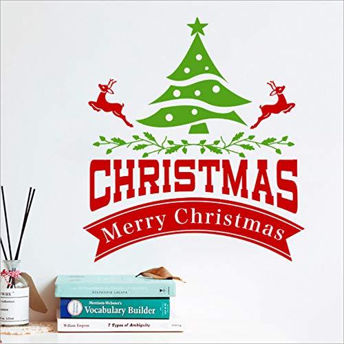 Qazwsxedc Centro Comercial Decoración De La Tienda De Navidad Pegatinas De Puerta De Vidrio Restaurante Ambiente De Vacaciones Escolares Pegatinas De Pared De Árbol De Navidad