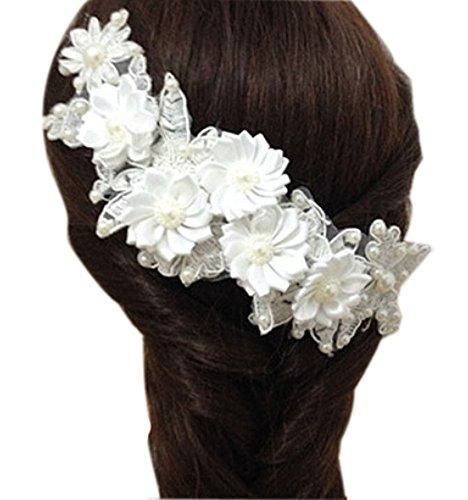 [Fleur blanc] Barrette à cheveux Pinces à cheveux magnifique décors de cheveux