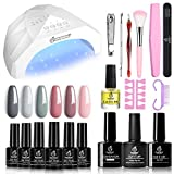 Beetles Nude Grays Gel Nail Polish Kit with Light 48W LED Nail Lamp Pink Gel Nail Polish Starter Kit Manicure with Light, Soak Off LED Gel Nail Polish Set Nude DIY Home Gel Nail Kit Designs - Best Reviews Guide