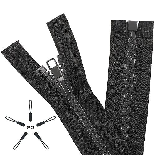 KVLUAY 2PCS #5 6 Inch Separating Jacket Zippers with 5 Pcs Black Zipper Pulls for Sewing Coats Jacket Zipper Black Molded Plastic Zippers Bulk