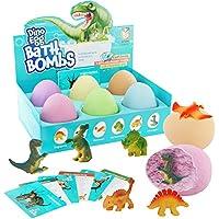 Bombas de Baño de Huevos de Dinosaurio con Juguete Sorpresa en el Interior para Niños - Dinosaurio en Cada Bomba de Baño - 6 Unidades - Incluye Tarjetas de Aprendizaje - Regalos para Niños y Niñas