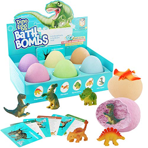 Dino Egg Bath Bombs with Surprise Inside for Kids  Dinosaur in Each Fizzy  Easter Suprise Eggs  With Learning Cards  Kids Bath Bombs amp Toys Inside  Large Toy Filled  Great Gifts for Girls amp Boys