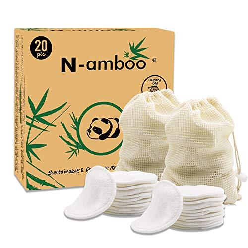 Coton Demaquillant Lavable, 20 Packs Tampons en coton, démaquillant ,+sacs à linge,Tampons Démaquillants en bio Bambou