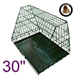 Ellie-Bo Sloping Puppy Cage Medium 30 inch Black Folding Dog Crate with Non-Chew Metal Tray With Slanted Front For Car