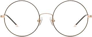 Firmoo Blue Light Blocking Glasses Women Men,Anti Eyestrain Migraine for Digital Screen,Retro Round Metal Frame Anti UV No...