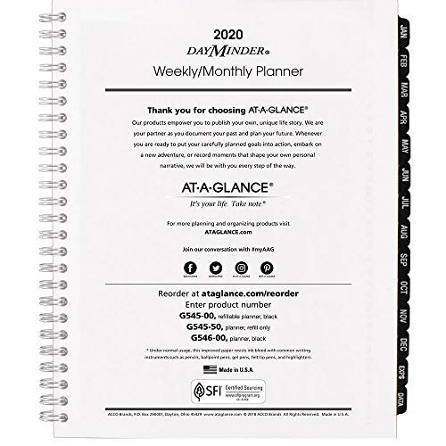 At-A-Glance 2020 Weekly & Monthly Planner Refill, DayMinder, 7' x 8-3/4', Medium, Wirebound, Executive (G54550)